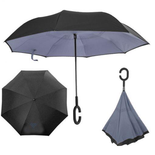מטריה הפוכה מתקפלת   מטריות   מטריות ממותגות   הדפסה על מטריות   מטריות לפרסום