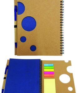 מחברות ממותגות | מוצרי נייר ממותגים | מחברת A5 ממוחזרת עם חיתוך צורני ודגלונים+עט